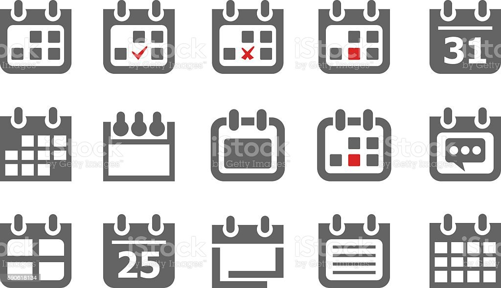 Collection of calendar icons vector art illustration