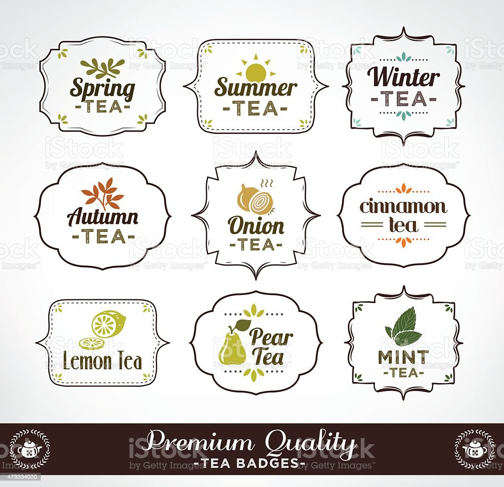 Collection Of Calligraphic And Typographic Tea Vintage Design vector art illustration