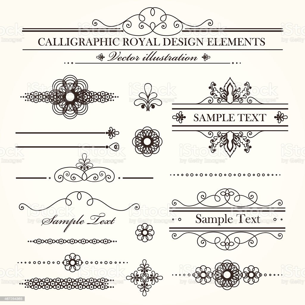 Collection of calligraphic elements vector art illustration