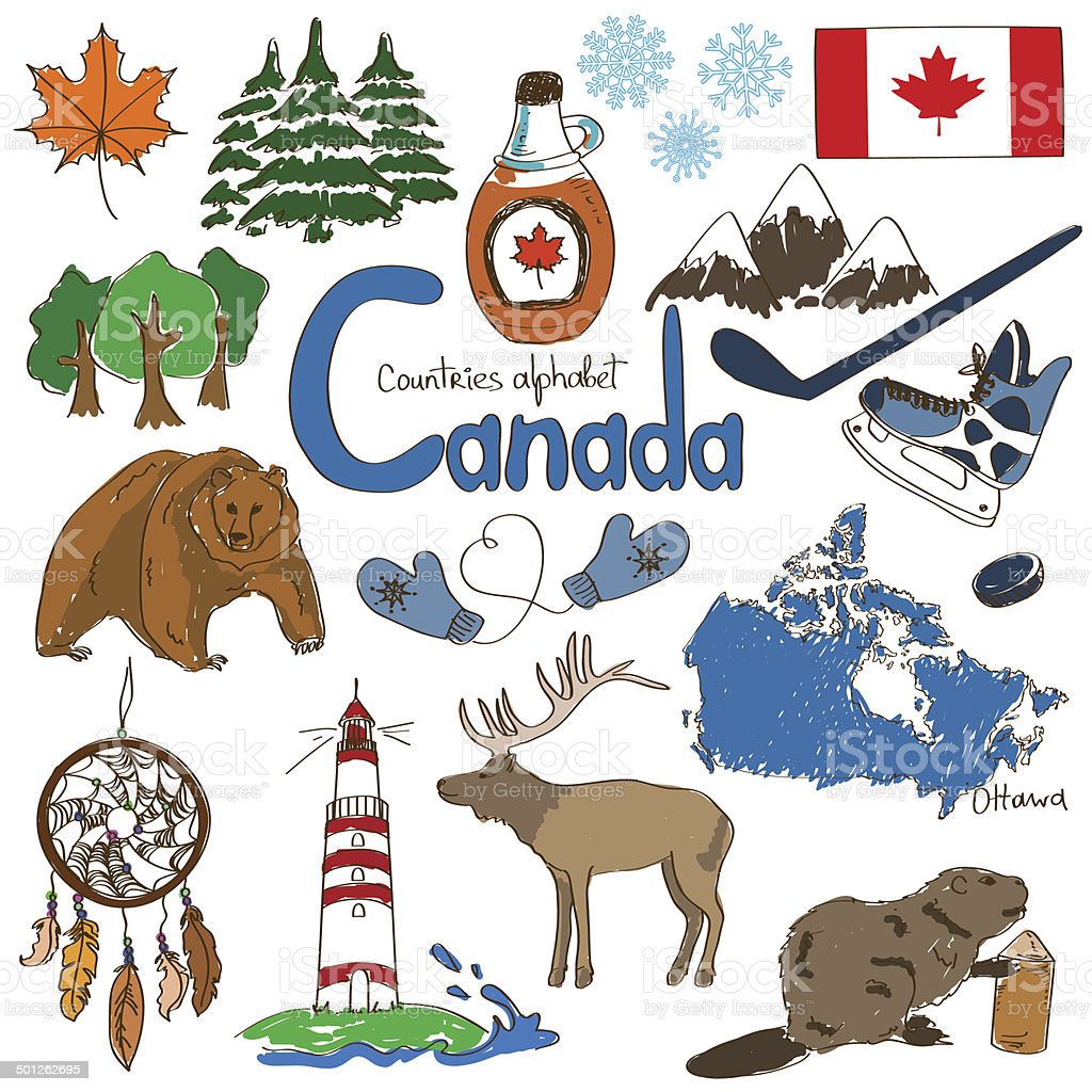 Collection of Canada icons vector art illustration