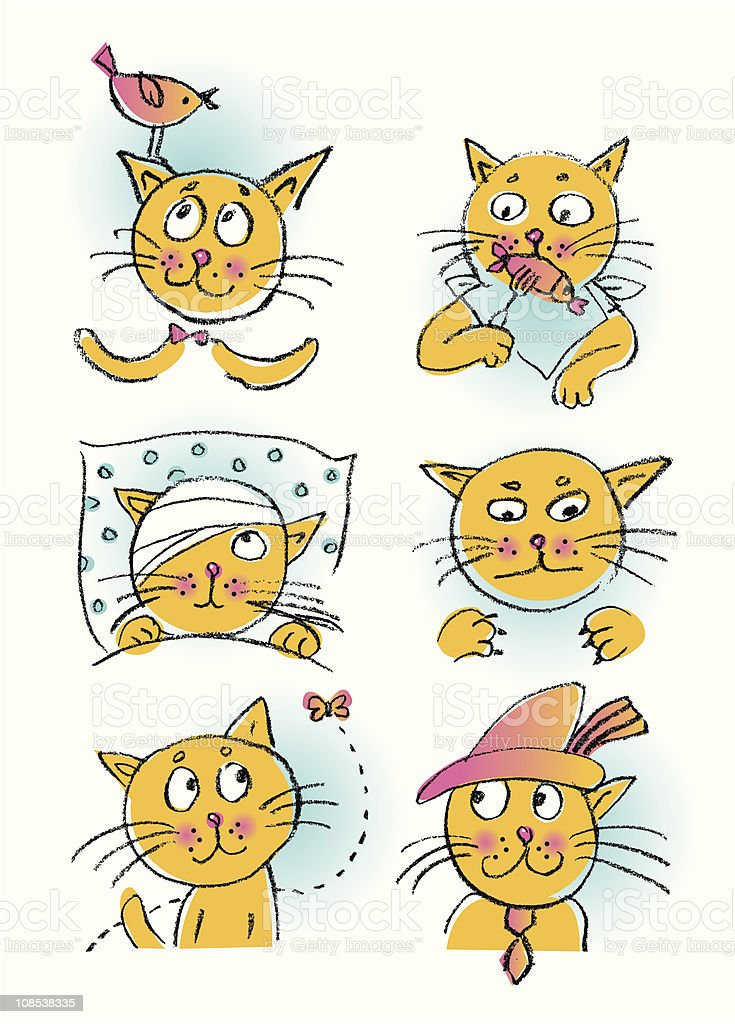 Collection of cartoon cats royalty-free stock vector art