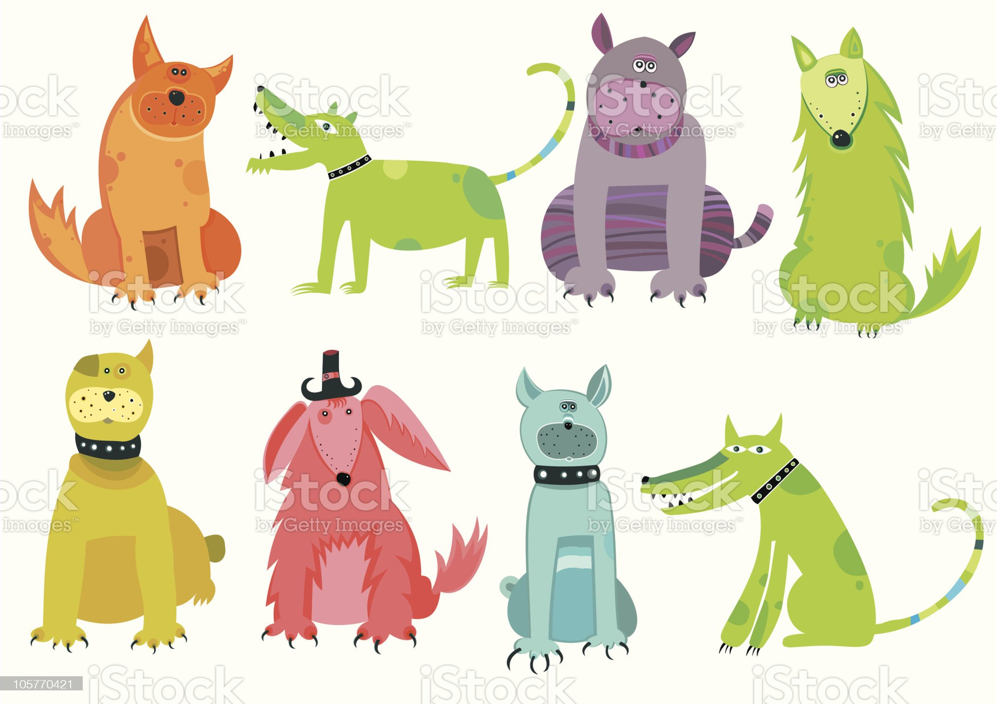 Collection of cartoon dogs royalty-free stock vector art