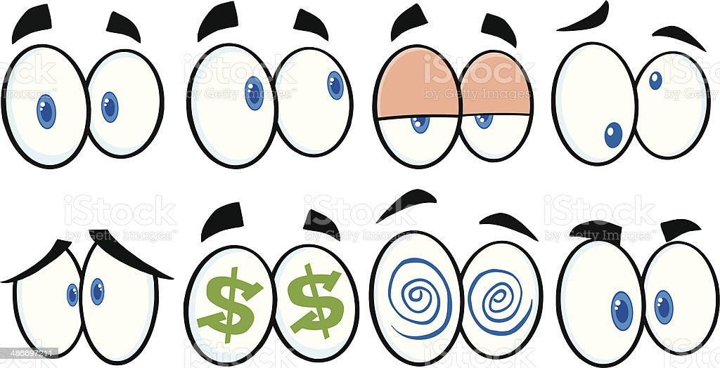 Collection of Cartoon Eyes - 2 royalty-free stock vector art