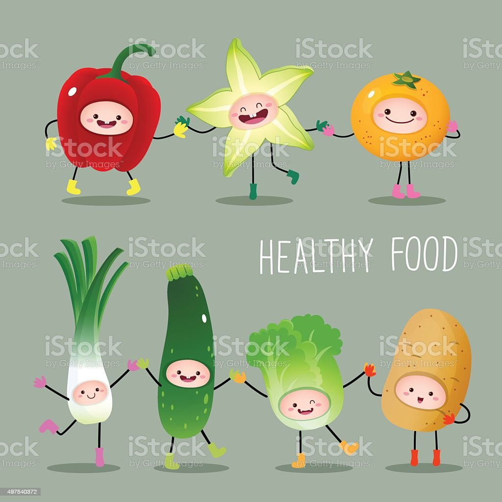 Collection of cartoon fruits and vegetables vector art illustration