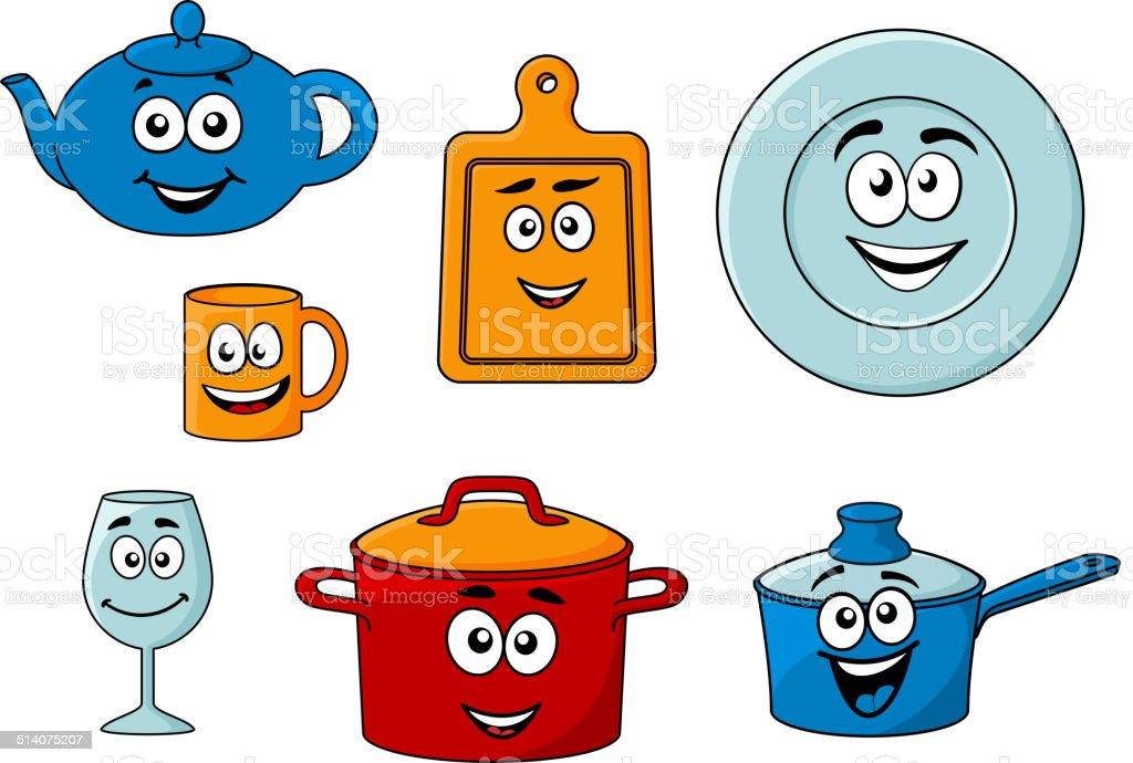 Collection of cartoon kitchenware vector art illustration