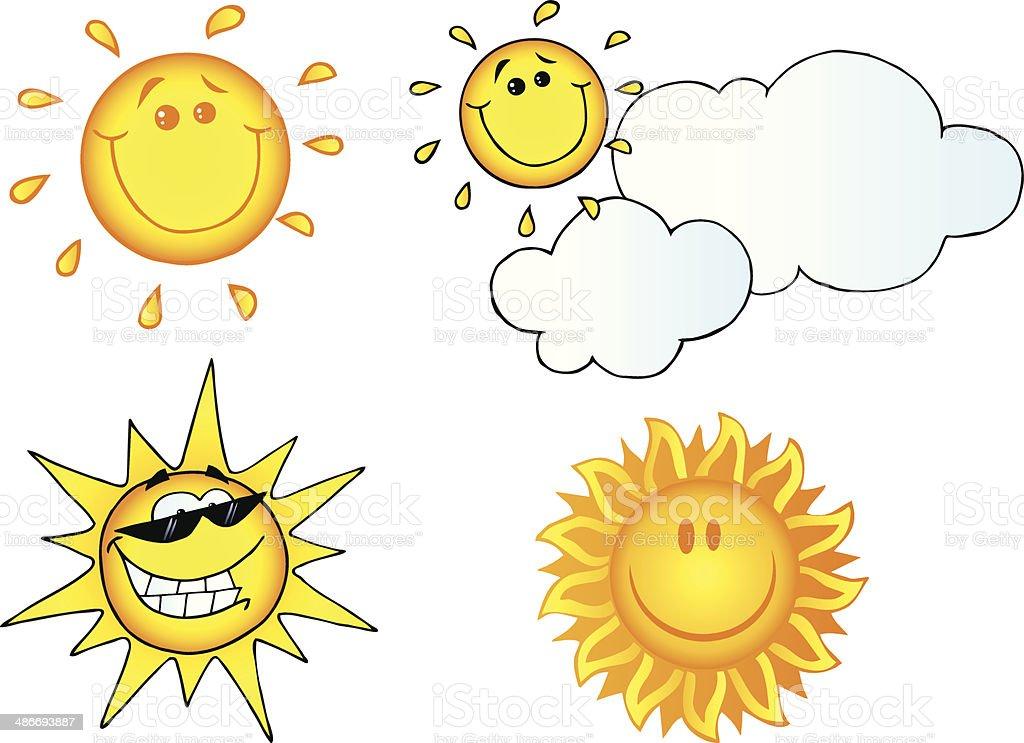 Collection of Cartoon Sun - 6 royalty-free stock vector art