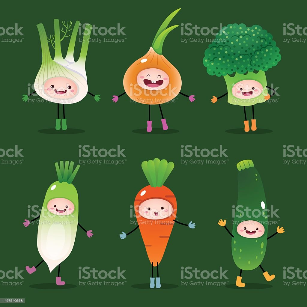 Collection of cartoon vegetables vector art illustration