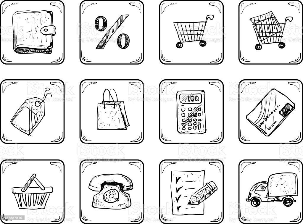 Collection of cartoon-style shopping related icons royalty-free stock vector art