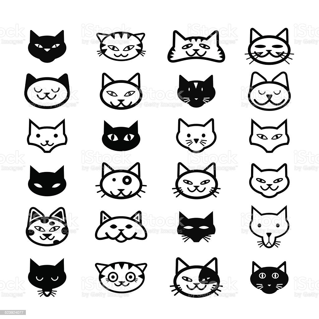 Collection of cat icons, illustration vector art illustration