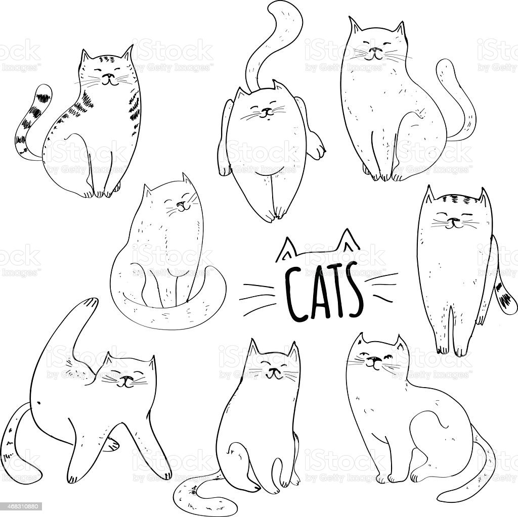 Collection of cats vector art illustration