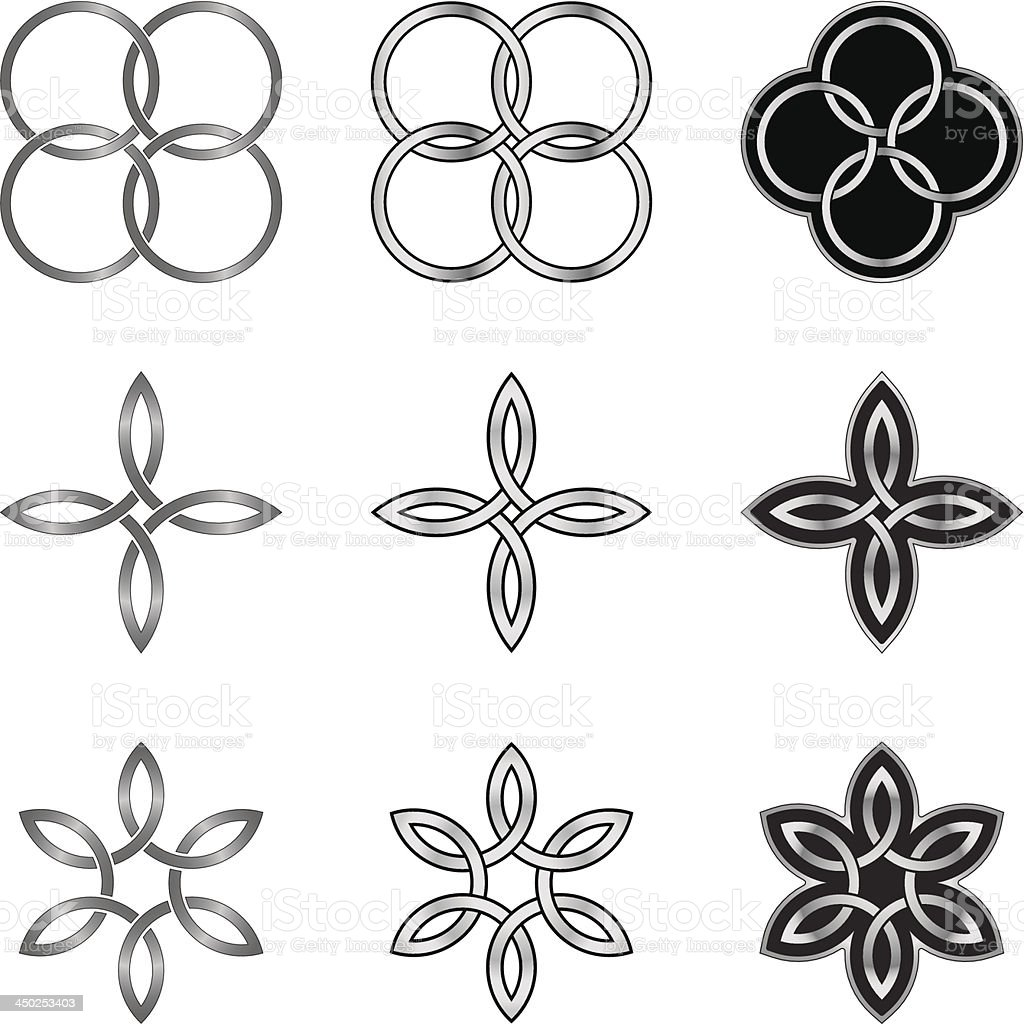 Collection of Celtic Patterns Circles and Stars royalty-free stock vector art