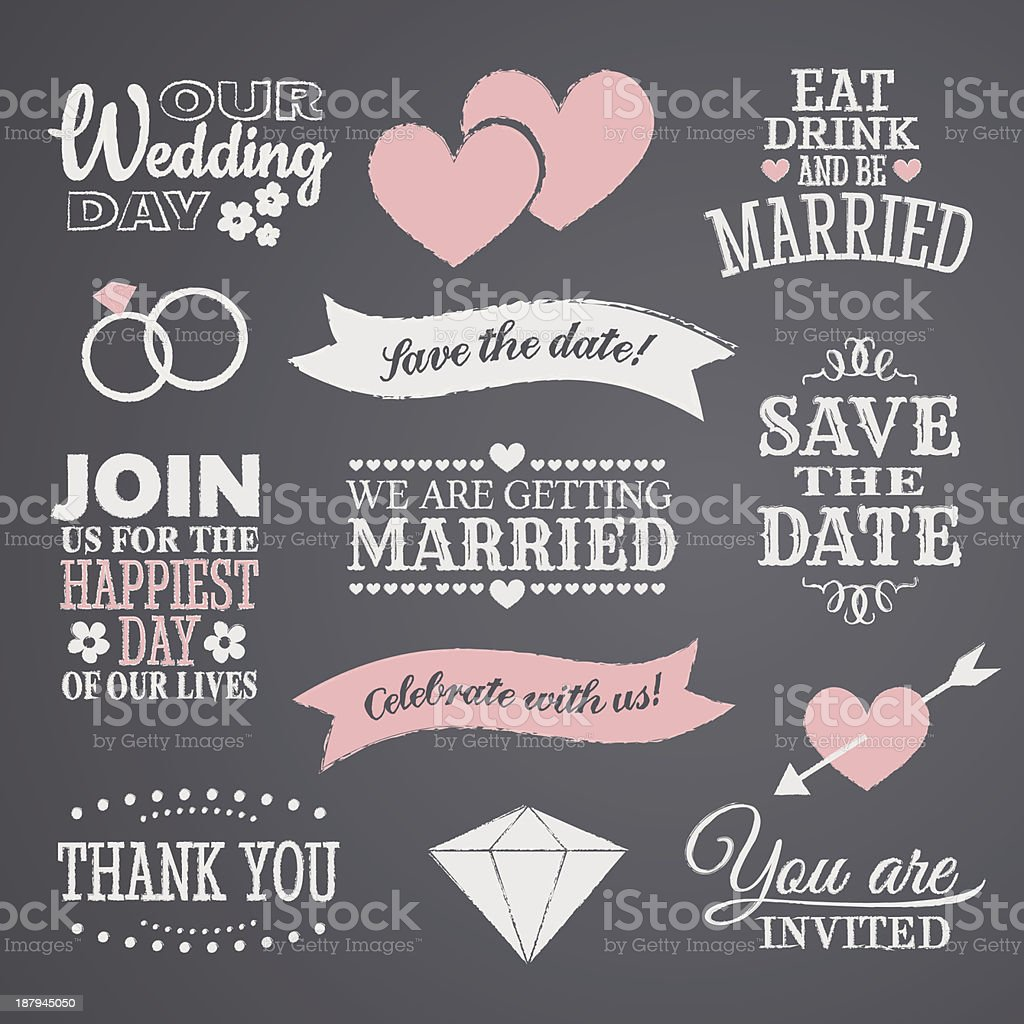 Collection of chalkboard wedding design icons vector art illustration