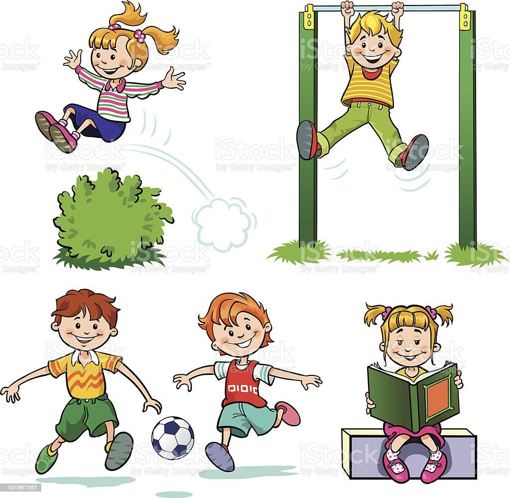 Collection of Children at Play vector art illustration