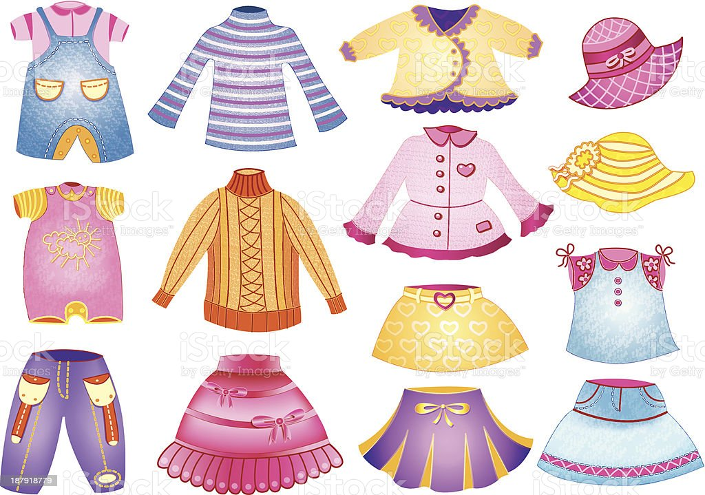 collection of children's clothing vector art illustration