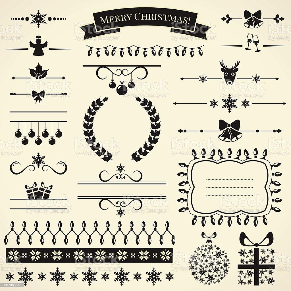 Collection of christmas design elements. Vector illustration. vector art illustration