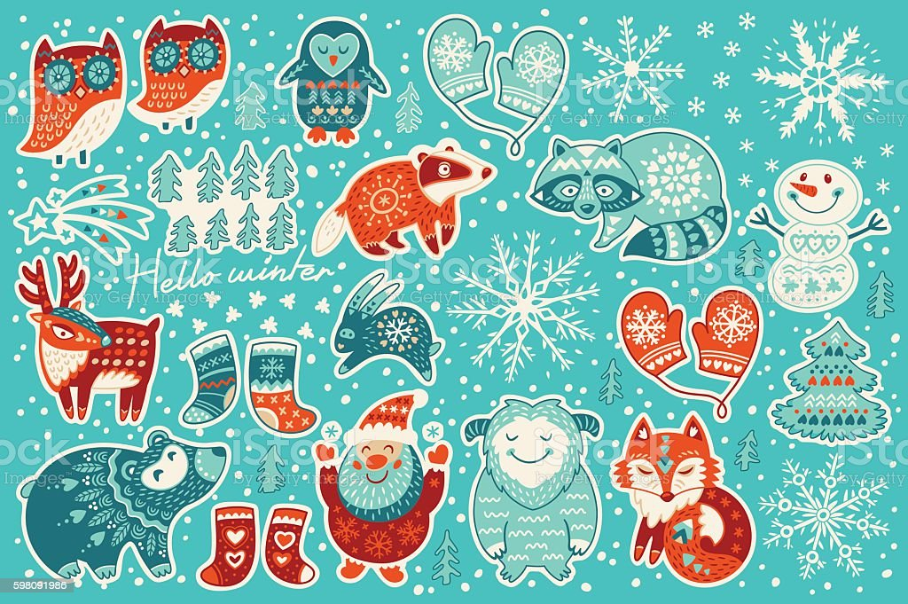 Collection of Christmas stickers vector art illustration