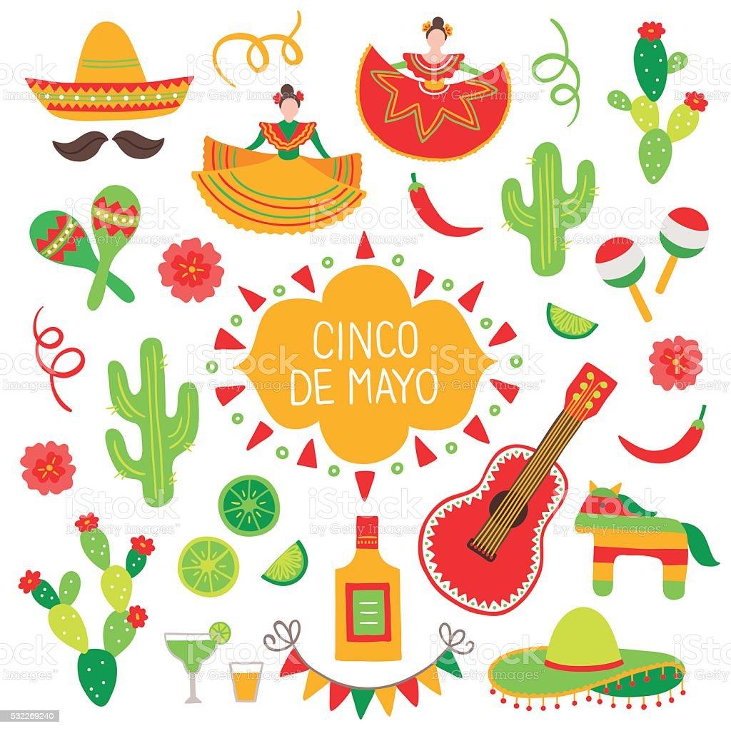 Collection of Cinco de Mayo design elements vector art illustration