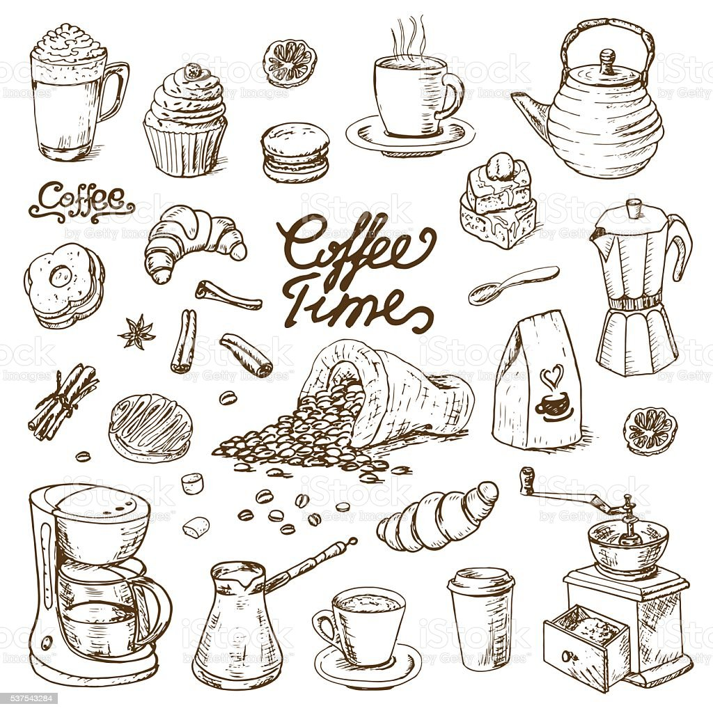 Collection of coffee doodle elements for cafe menu, fliers, chalkboard vector art illustration