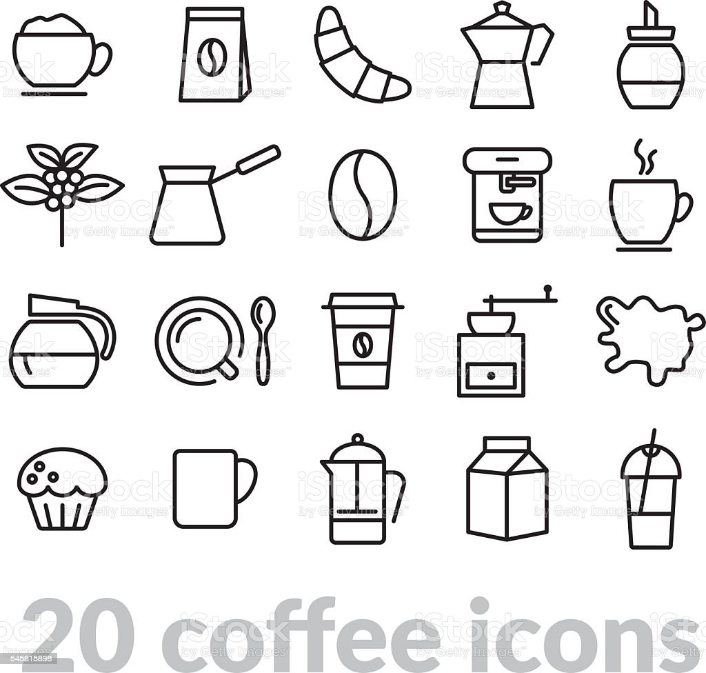 collection of coffee line icons vector art illustration
