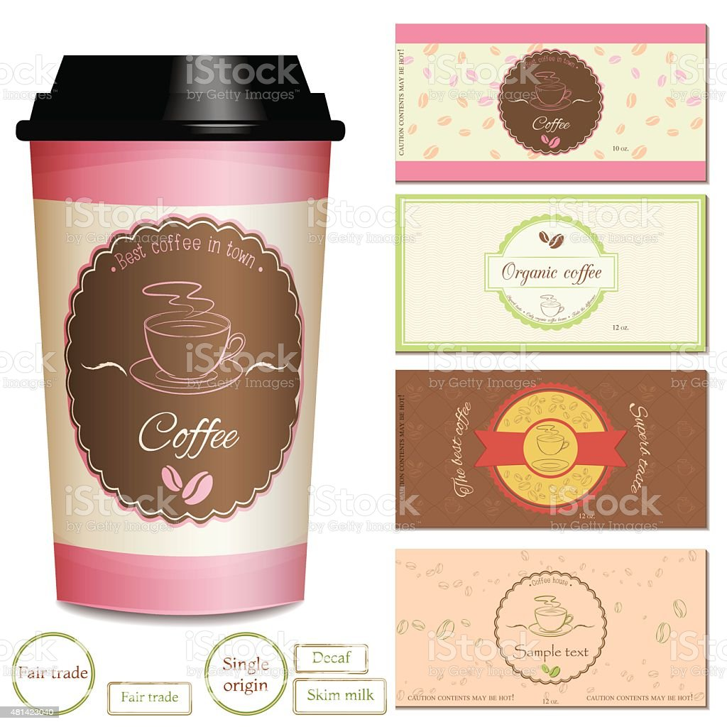 Collection of coffee shop logo and label designs. vector art illustration