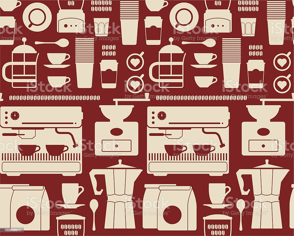 A collection of coffee shop symbols on a red background royalty-free stock vector art