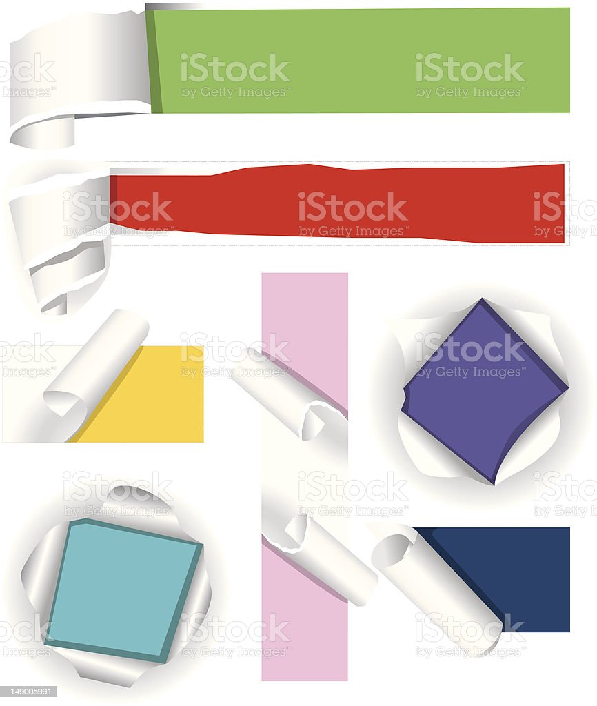 Collection of color paper. Vector illustration royalty-free stock vector art