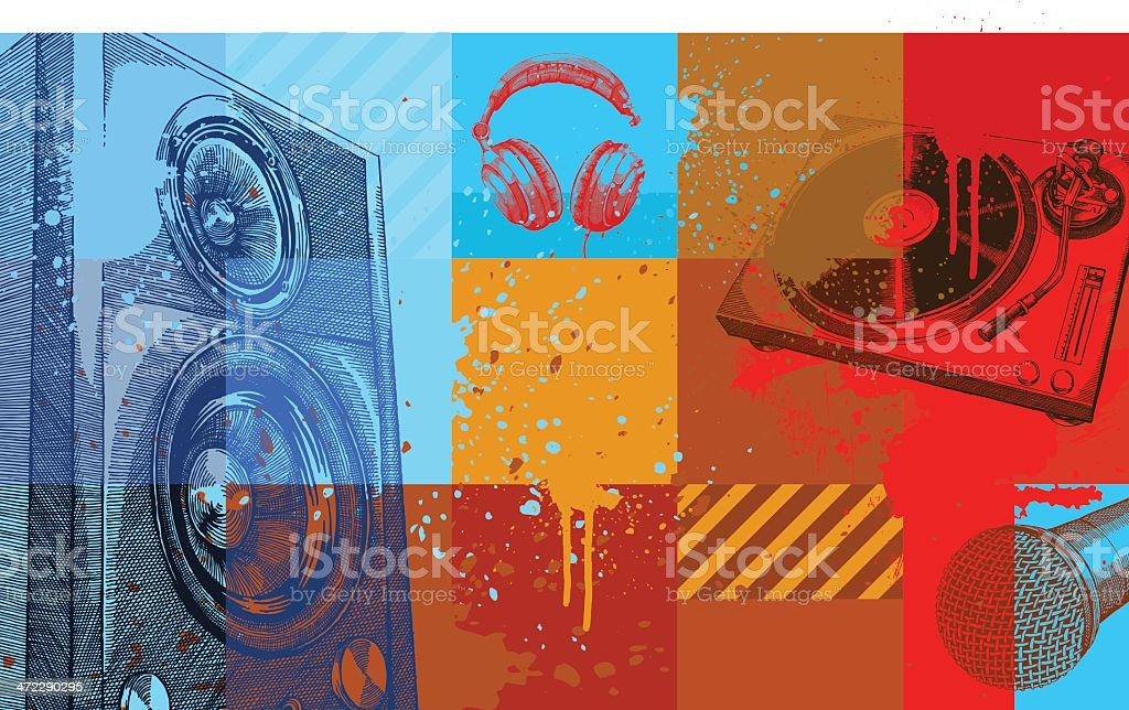 A collection of colored squares with music items on them vector art illustration