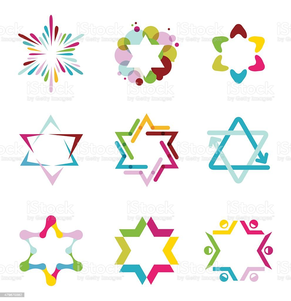 collection of colorful abstract star icons, symbols and graphic elements vector art illustration