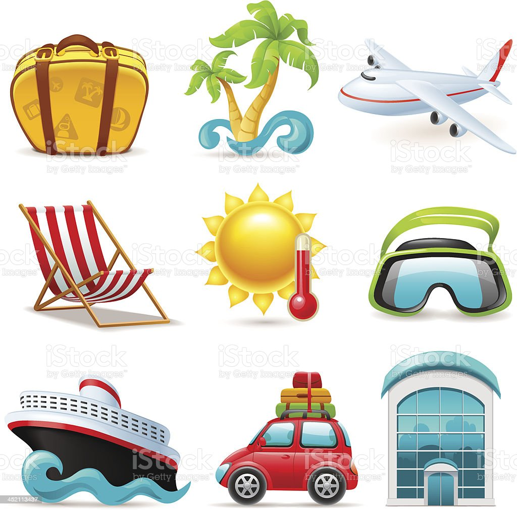Collection of colorful beach travel icons royalty-free stock vector art