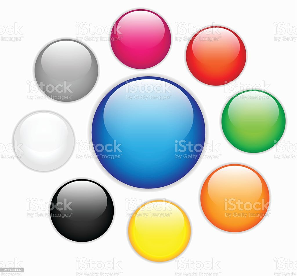 Collection of colorful blank round glossy web buttons verctor vector art illustration
