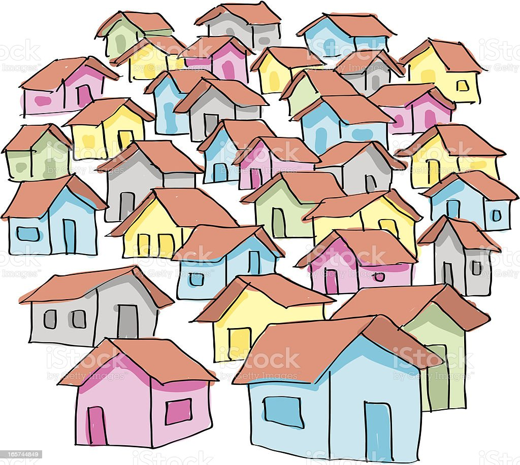 Collection of colorful cartoon houses on a white background vector art illustration