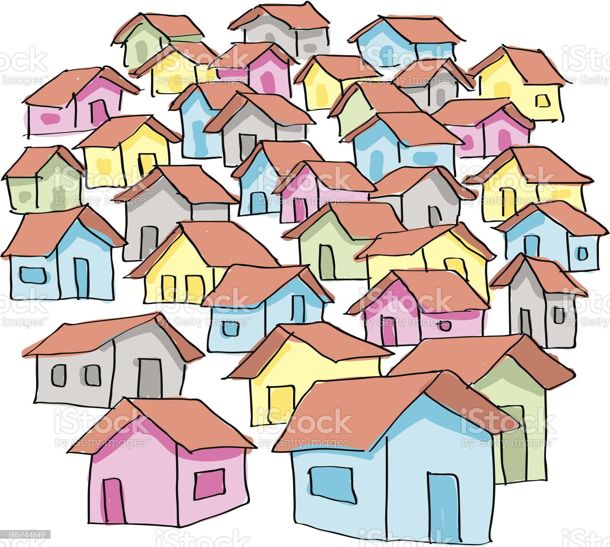 Collection of colorful cartoon houses on a white background royalty-free stock vector art