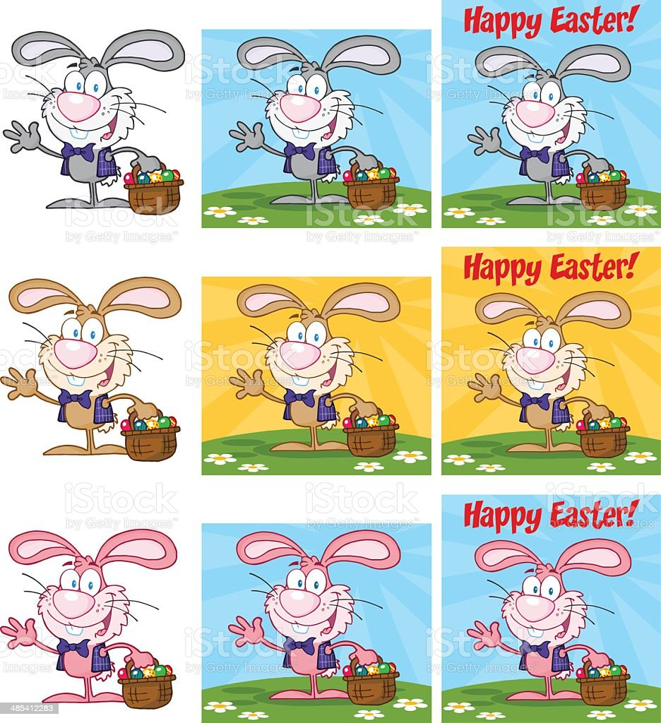 Collection of Colorful Easter Bunnys Waving A Greeting vector art illustration