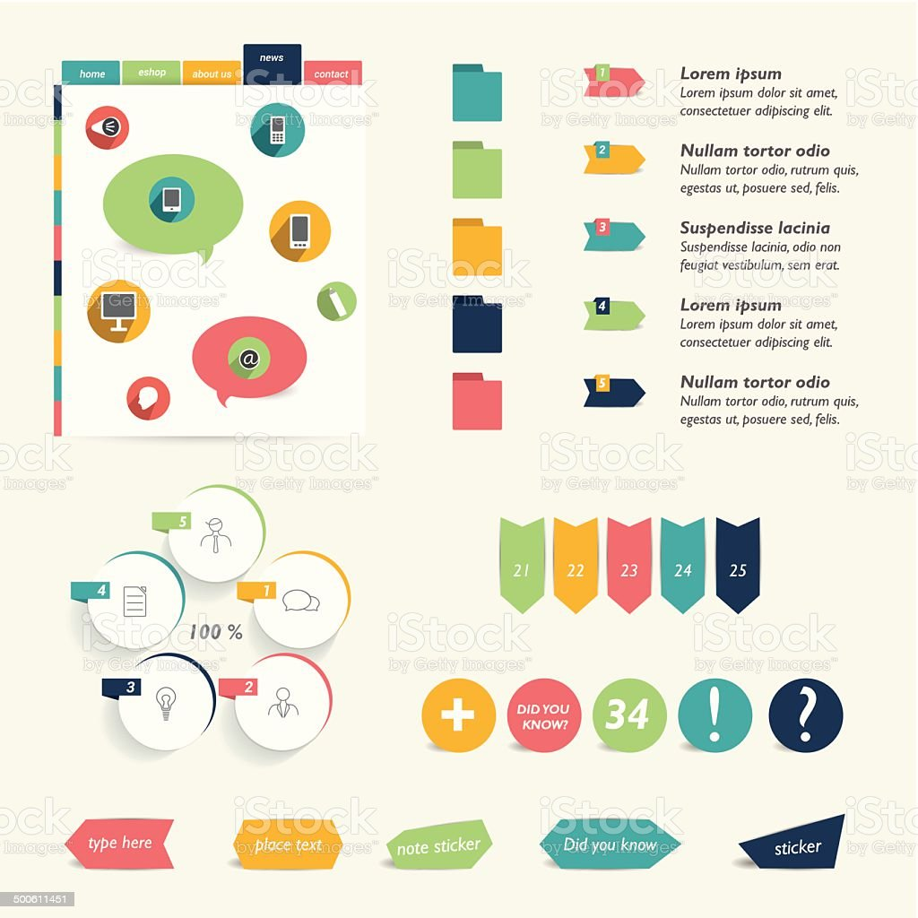 Collection of colorful flat infographic elements. Business vector shapes. vector art illustration