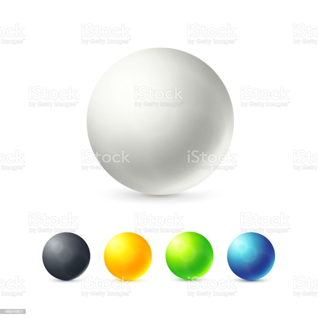 Collection of colorful glossy spheres vector art illustration