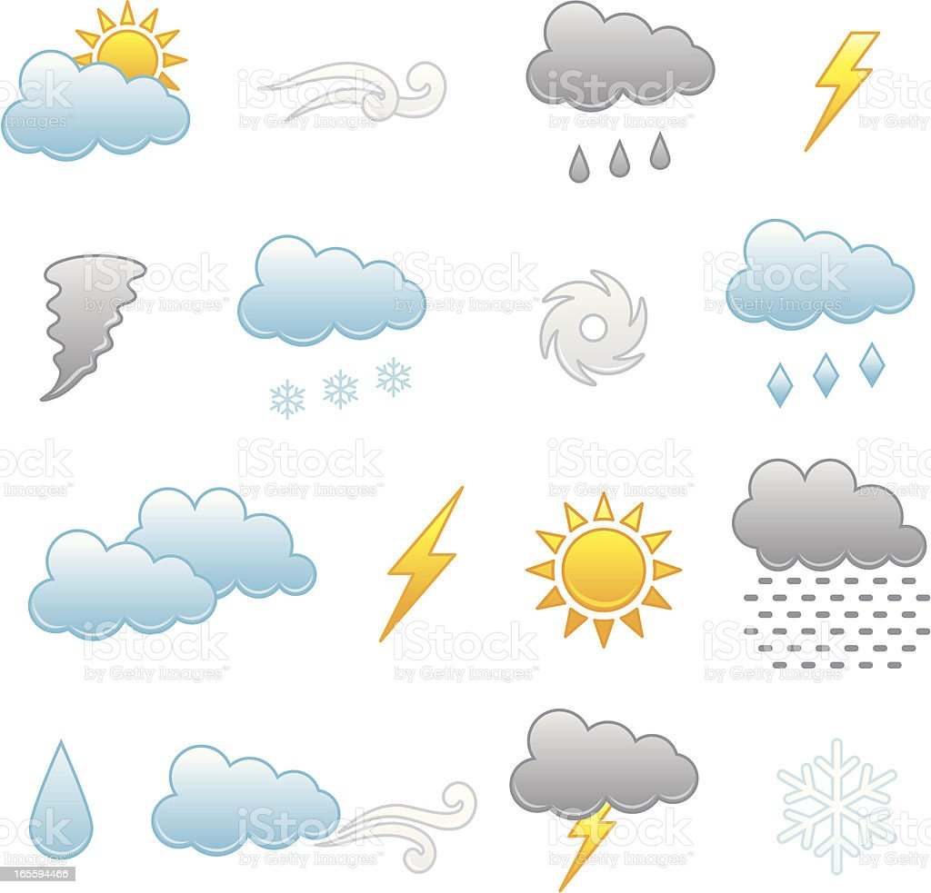 Collection of colorful icons depicting different weathers royalty-free stock vector art