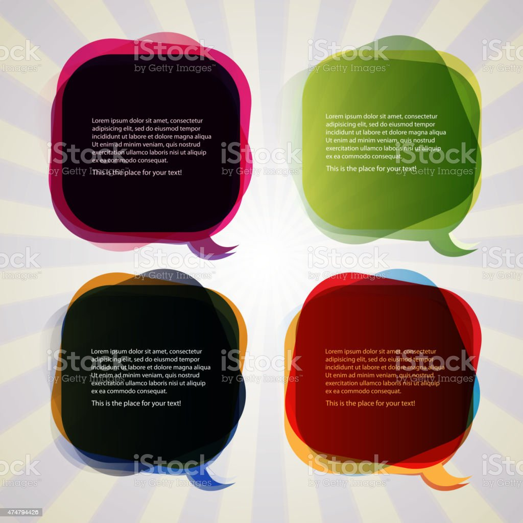 Collection of Colorful Speech And Thought Bubbles Background Vector vector art illustration
