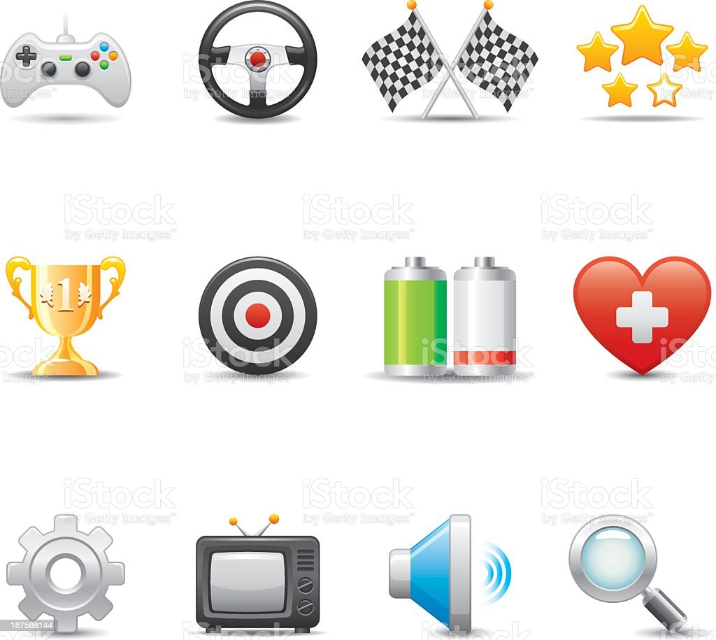 Collection of colorful video game icons vector art illustration