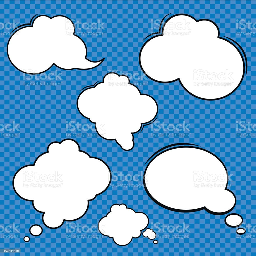 Collection of comic style speech bubbles vector art illustration