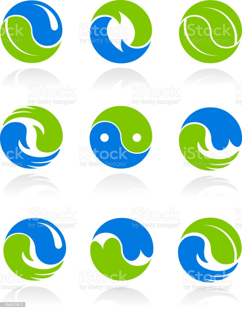 Collection of conceptual Yin Yang symbols vector art illustration