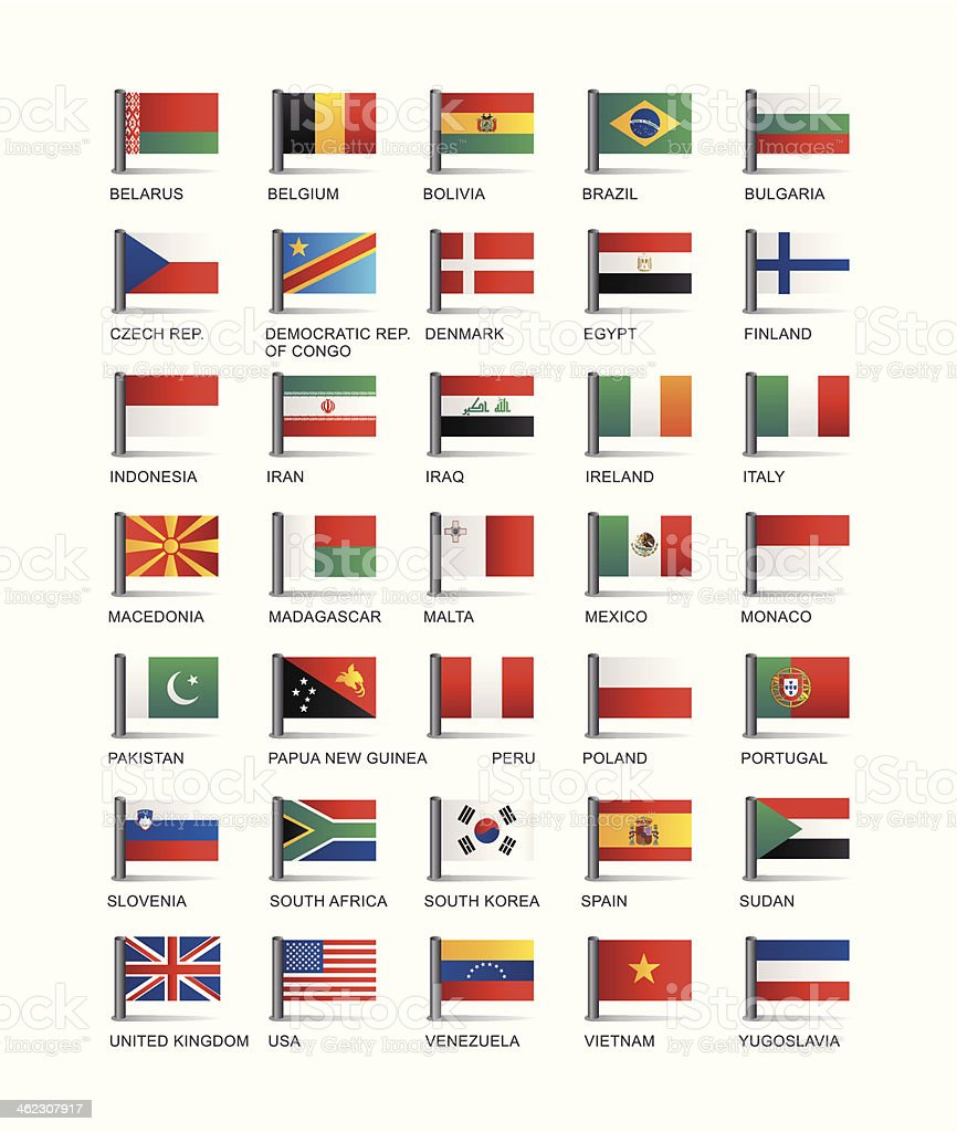 Collection of country flags vector illustration vector art illustration