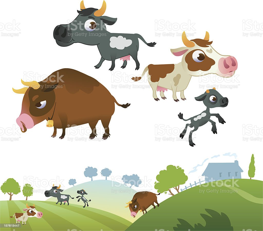 Collection of cow family royalty-free stock vector art