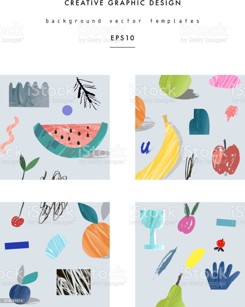 Collection of creative cards with fruits vector art illustration