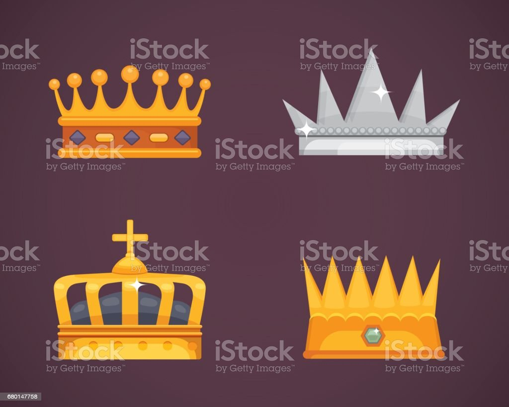 Collection of crown icons awards for winners, champions, leadership. Royal king, queen, princess crowns. vector art illustration