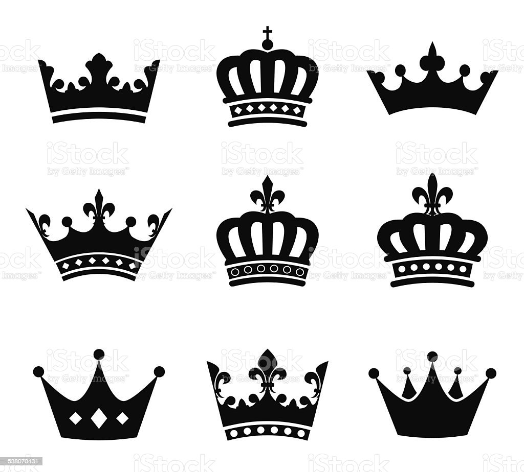 Collection of crown silhouette symbols vector art illustration