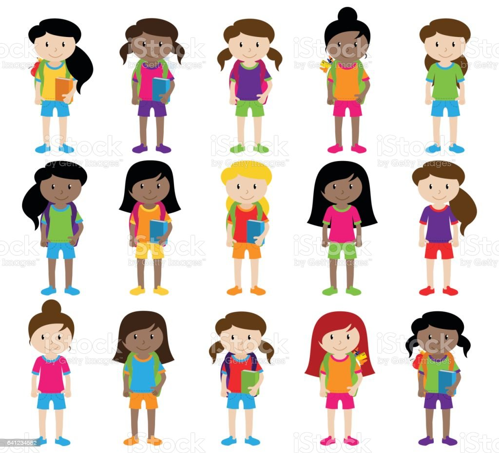 Collection of Cute and Diverse Vector Format Female Students or Graduatess vector art illustration