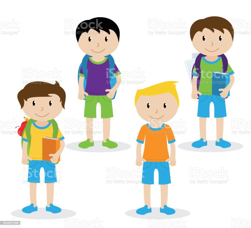Collection of Cute and Ethnically Diverse Male Students and Children vector art illustration
