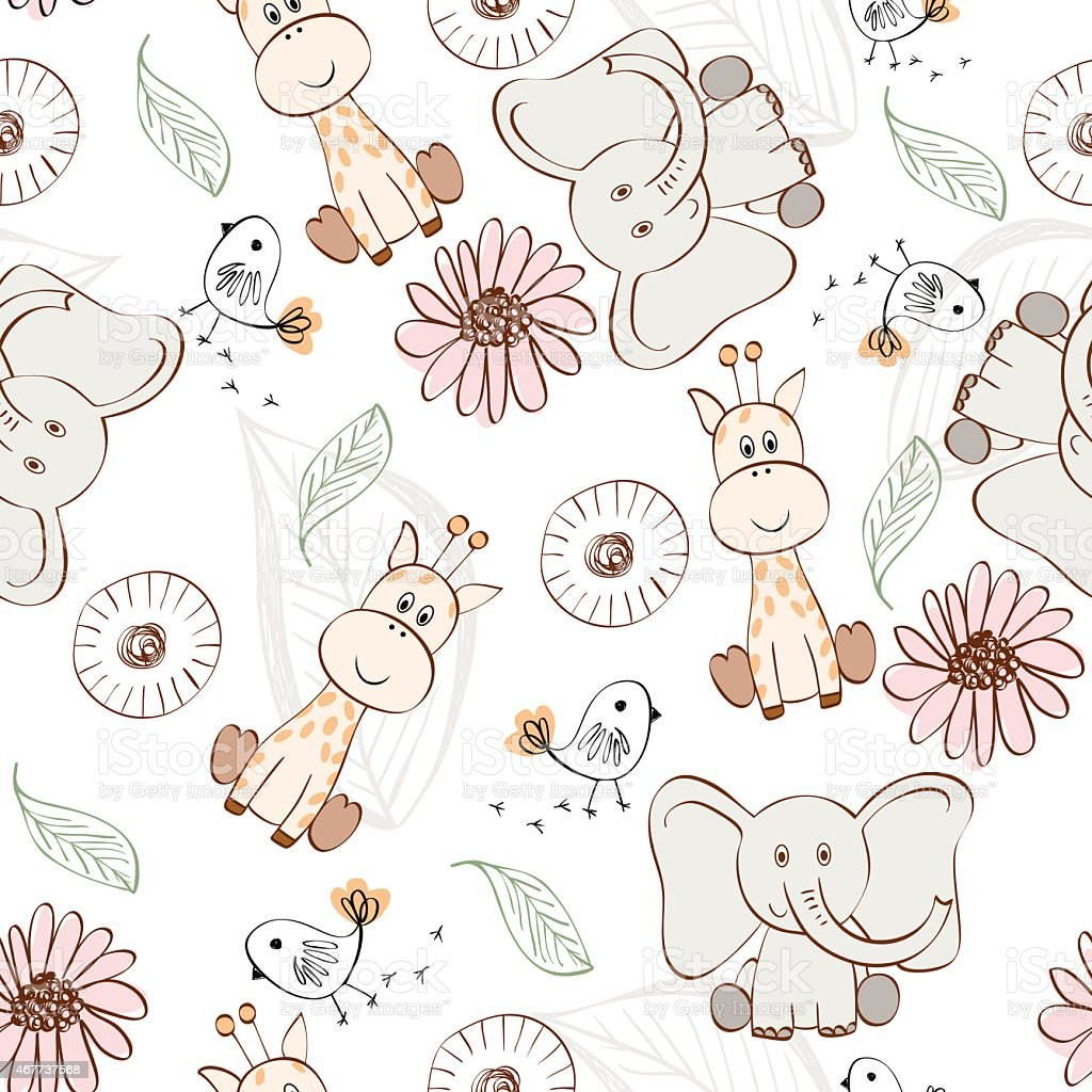 Collection of cute animal drawings vector art illustration