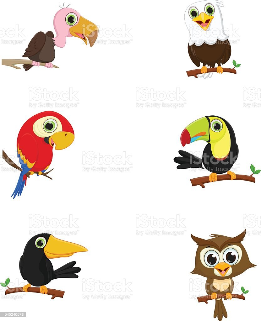 collection of cute birds on a tree branch vector art illustration
