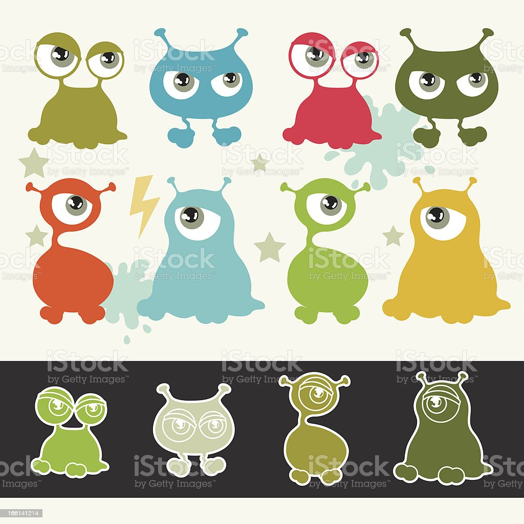Collection of cute cartoon little monsters. royalty-free stock vector art